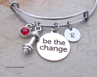 Be the change Barbell Charm Stainless Steel Bangle Personalized Hand Stamped Initial Birthstone Fitness Expandable Bangle Bracelet