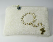 Women's Rosary Pouch, Cream and Tan, Decade Rosary Embellishment, Catholic Gift, Gold With Pearl Like Beads on Front