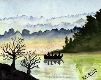 Canoe painting, beach camping, foggy painting, fog, lake art, mountain painting, lake painting, canoe fishing, watercolor print, Item #CMP01