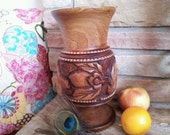 Beautiful Large Hand Carved Wood Vase Monkeypod Style, Unique Centerpiece Bohemian Mantle Boho Bedroom Decor, Hand Crafted Philippines GIFT
