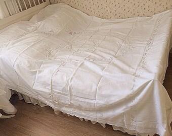 Shabby Chic Vintage Style Rustic Blanc/White Linen Handmade Battenburg  Duvet Cover, Super King Size BC015