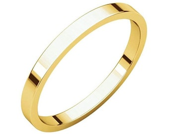 14Kt Yellow Gold Flat Wedding Band 2mm
