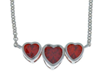 2 Ct Garnet Heart Bezel Pendant .925 Sterling Silver