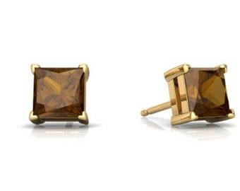 14Kt Yellow Gold Smoky Quartz Princess Cut Stud Earrings