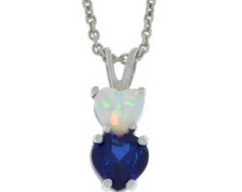 Blue Sapphire & Opal Heart Double Pendant .925 Sterling Silver