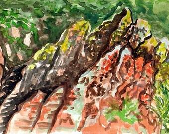 Lichen Rocks of New Mexico Watercolor Study
