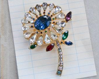 Vintage Rhinestone Flower Brooch - Colorful Stone Daisy Pin