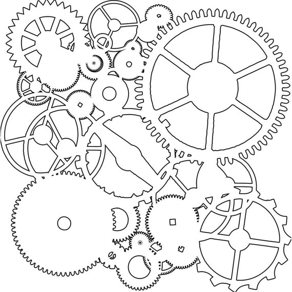 """Gears 12 x12"""" Stencil /  template design perfect for mixed media, scrapbooking, journaling and so much more"""
