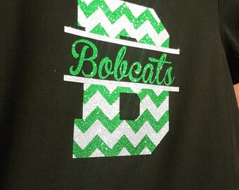 Personalized Chevron Letter Tee with Script Team Name
