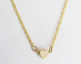 HUGE SALE Small Heart Necklace - Heart Necklace - Gold Heart Necklace - Simple & Minimal Necklace - Dainty Necklace - Everyday Necklace
