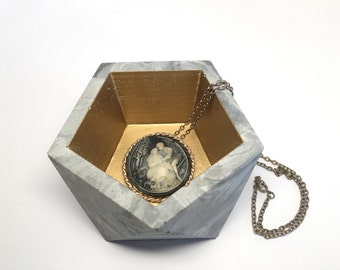 Large Marbled Concrete Dish with Metallic Detail - Icosahedron ll Planter - Geometric Candleholder - Tray