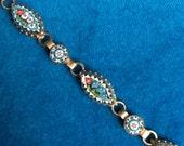 Vintage Italian micro mosaic bracelet - glass tiles, gilt brass