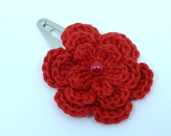 1 Red crochet flower hair clip ideal stocking stuffer