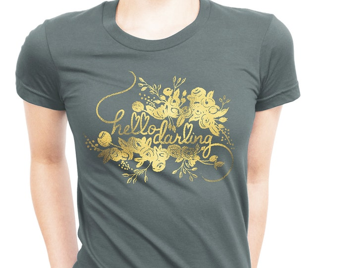 Hello Darling Dark Grey Women's Cotton T-Shirt Gold Foil by The First Snow