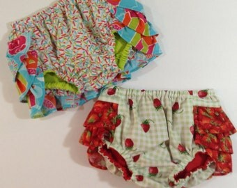 CLEARANCE!!!  TWO for FIFTEEN dollars, girls ruffle bottom diaper covers size medium 6-9 months