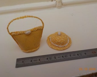 Hat or bag yellow miniature 1/12th