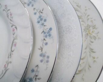 Vintage Mismatched China Salad Plates - Set of 4