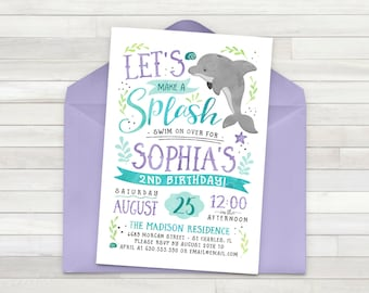 Dolphin Birthday Invitation, Ocean Birthday Invitation, Under The Sea Invitation, Pool Party Birthday Invitation - Printable