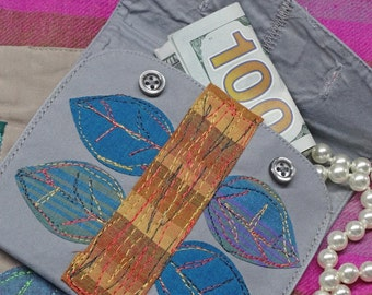 Gift Card Holder,Jewelry Pouch,Coin Purse, Money Purse,Upcycled Clothing, Textile Art Pouch