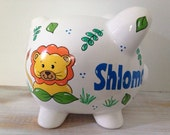 Personalized Hand Painted Piggy Bank With Lion Theme