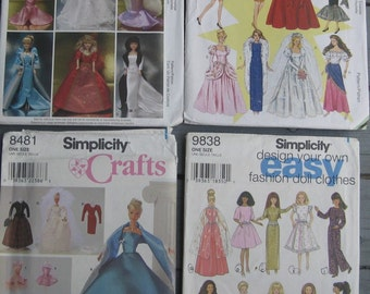 """McCall's & Simplicity Doll Patterns CLothes For 11 1/2"""" Barbie Lot of 4  New Condition"""