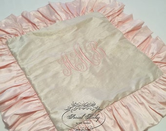 Silk Monogrammed Pillow Sham in Cream and Ballet
