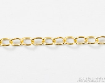 14Kt Gold-Filled Chain - 1.25mm Gold Cable Chain - Fine Goldfilled Chain - Lightweight Cable Chain - Bulk Chain by the Foot - MADE IN USA