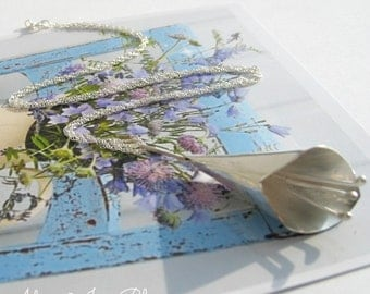 Calla Lily Necklace, Sterling Silver Jewellery, Flower Jewellery
