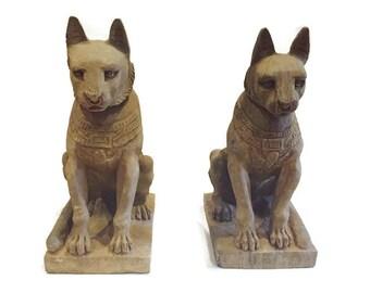 "Vintage Pair Egyptian Temple Cats Garden Statues Stone Carved Sacred Lioness Set Modern Regency Glam Entryway 20"" Feline Goddess Bastet"