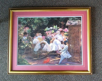 "Trade Framed Under Glass Vintage Reproduction Art Print José Villegas Cordero's 1907 ""La Siesta"""