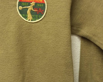 Vintage Military Patched Sweatshirt Womens Bowling Patch & Pin Pinback Long Sleeve Knit Shirt Army Green XS Pullover Top