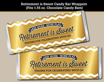 Retirement Candy Bar Wrapper, Printable Digital File, Fits 1.55 oz. Chocolate Candy Bar, Chevron Design in Gold Tones