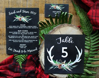 Downloadable Rustic Woodsy Camp Outdoors Deer Antlers & Plaid Wedding Menu, Table Number and Place Card : DCo Lovenotes