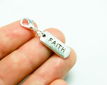 Faith Charm. Faith and Love Wedding Charm. Silver Clip Charm for Weddings. SCC429