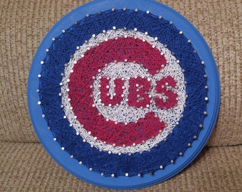MLB Chicago Cubs Baseball Team Logo String Art on Circular Plaque