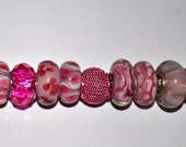 Lot of High Quality Handcrafted Pink Murano European Beads