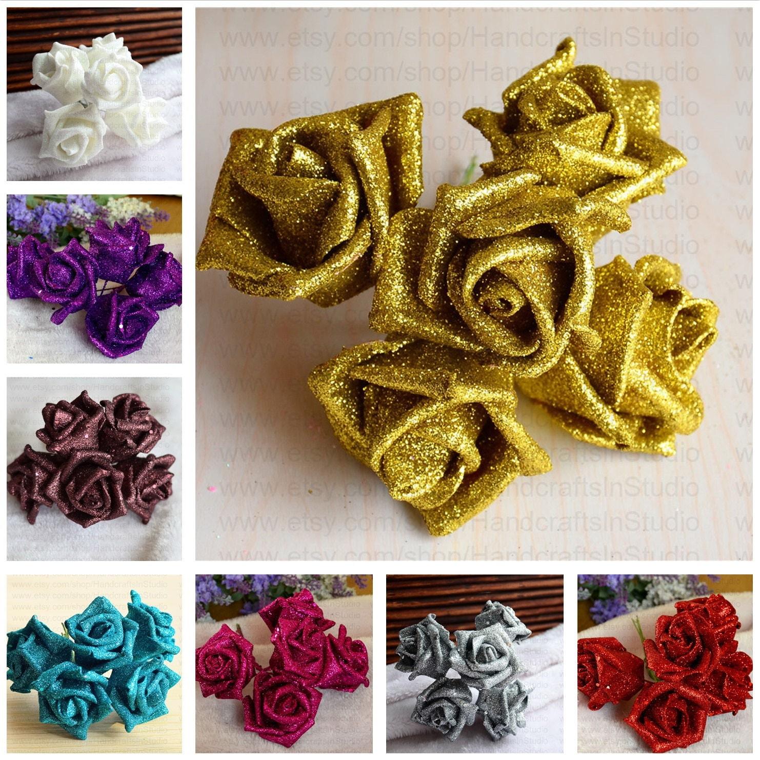 White Glitter Roses 100 White Foam Flowers For Bridesmaids Bridal