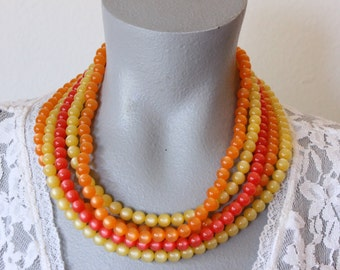 Lisner Multistrand Moonglow Bead Necklace (vintage retro 50s 60s orange yellow pink plastic 5 strands five chunky colorful bright summer)