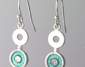 Turquoise Enamel Earring Sterling Silver Circle