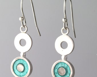 Turquoise Circle Dangle Earring Blue Sterling Silver