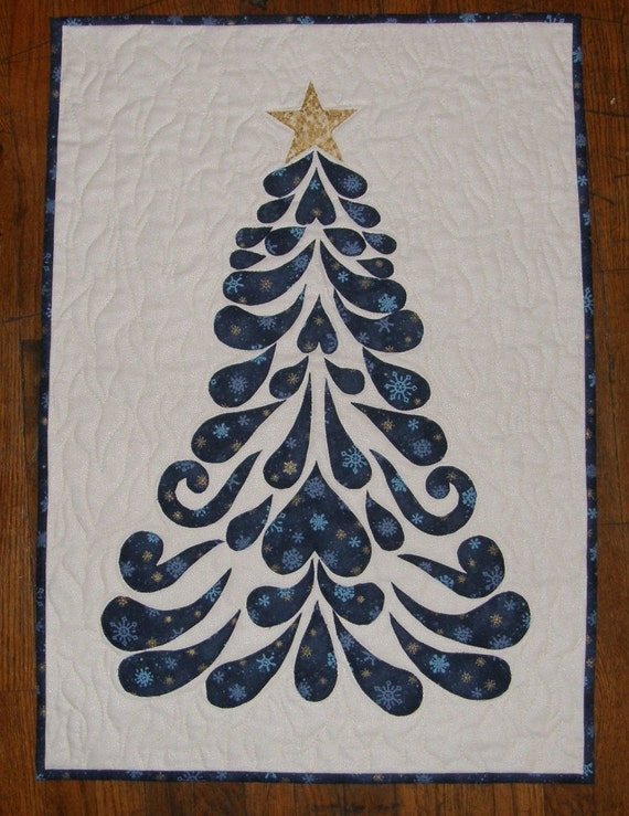 Blue Christmas Tree Contemporary Art Quilt Quilted Wall
