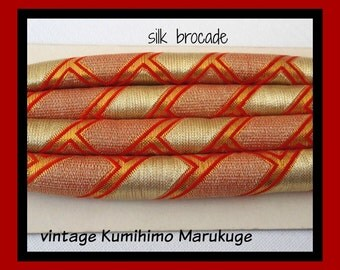 Japanese  WEDDING Belt RED & GOLDS // Vintage SiLK Brocade Maruk uge Kumihimo Cinch tie Cord for Furisode Kimono / as New  //  54 inches