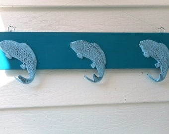cast iron fish coat / towel rack / beach decor / nautical decor