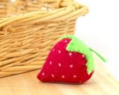 Catnip Strawberry, flannel strawberry, cat toy, kitten toy, make believe strawberry
