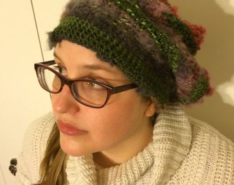 Crochet Slouchy Hat Beanie-Green, Grey, Red, and Purple
