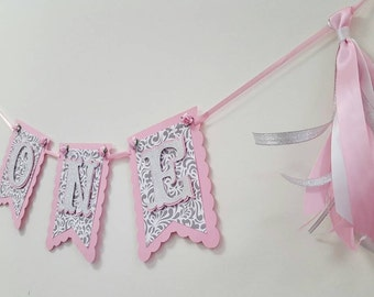 birthday banners, pink silver, girl