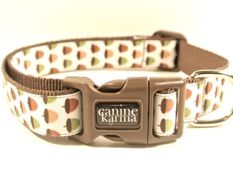 "Acorn Dog Collar - 1"" Adjustable Brown Autumn Fall Nuts Collar"