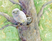 Two Owlets - Attitude is Everything - Original Watercolor
