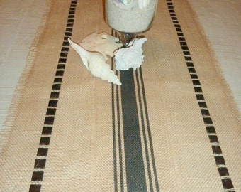 Black Stripped Burlap Tablerunner