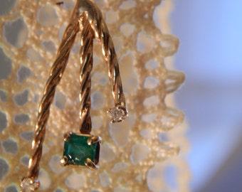 ORIGINAL DESIGN Hand Crafted 14K Gold Emerald and Diamond  Necklace Pendant